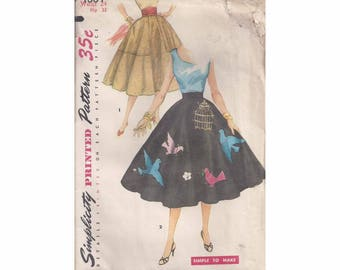 1950s Simplicity 4884 Misses Circle Skirt Vintage Pattern Size 24 Waist