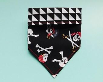 Dog Bandana, Pirate Bandana, Tie On Bandana, Checker Bandana, Double Sided Bandana