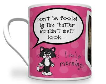 Personalised Cat Mug. Kool Kat Mug. Cat Mugs. Cheeky cat Mug. Cat Lover's Mug.