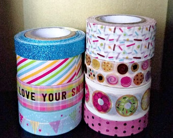 8 Pc. Doughnuts, Cookies, Sprinkles, Banners, Stripes, Phrases, Glitter Crafting Washi Tape Tube