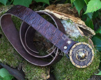 Leather Belt with hand forged buckle as a shield with brass elemets, viking shield, forged buckle, medieval, viking belt