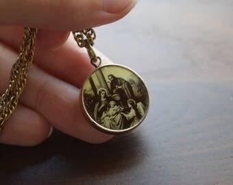 Vintage Religious Christian Catholic Sepia and Yellow Gold Pendant Necklace