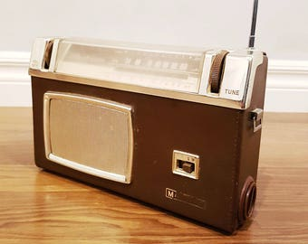 Rare 1960 Marconi Radio Model 2005, Two-Band 8 Transistor Portable Radio, Working