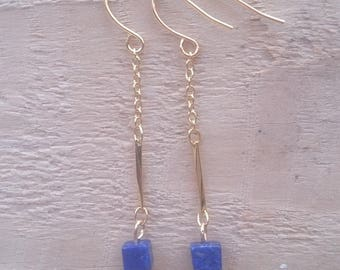 Lapis Lazuli gold plated earrings