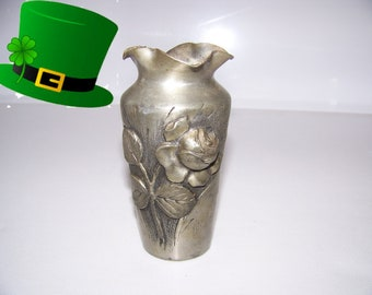 Art Nouveau small vase hand carved and signed by Paul pure Tin