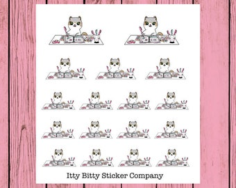 Messy Desk, Planning Life Mauly - Hand Drawn IttyBitty Kitty Collection - Planner Stickers
