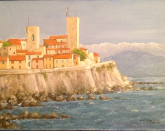 Original Oil painting ' Antibes South of France'