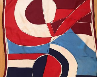 Vintage Vera Silk Scarf Red White and Blue Americana