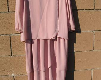 VTG 80s Summerfield  Pink Lagenlook Formal Dress 12 Wedding Party Mother Matron