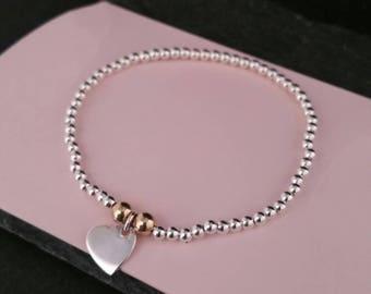 Genuine 925 Sterling Silver Stackable Ball Beaded Elastic Stretch 14k Gold Heart Pendant Charm Bracelet Gift Idea