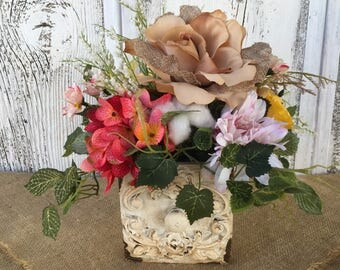 Antiqued White Box Spring or Summer Floral Arrangement, Mother's Day, Wedding Centerpiece, Year Round Floral Arrangement, Easter Centerpiece