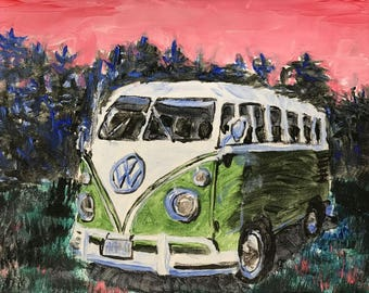 VW Volkswagen acrylic wall art bus painting vintage birthday gift anniversary present for him for her