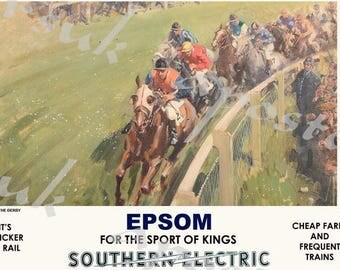 Vintage Style Railway Poster Epsom Derby A3/A2 Print