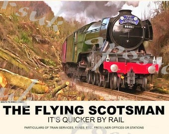 Vintage Style Railway Poster Flying Scotsman A3/A2 Print