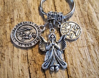 New Driver Key Chain, St Christopher Medallion, new driver, good luck, travel protection, Angel Wings,