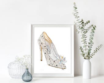 "Cinderella Jimmy Choo - Print - 8""x10"" - Various Sizes - Wall Art - Gifts for her - Cinderella - Shoes"