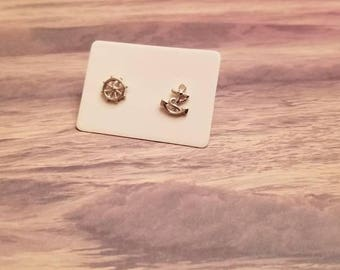 Anchor and wheel sterling silver stud earrings