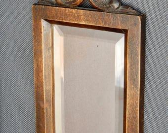 Mirror with hand carved wood antique Baroque rose faceted mirror glass framework vintage mirror miroir wooden frame cadre en bois baroque