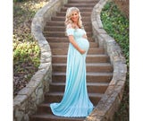Maternity Dress for Photo Shoot-Maternity Gown-Baby Shower Dress-Blue Maternity Gown-Pink Maternity Photo Shoot Dress-CLARISSA
