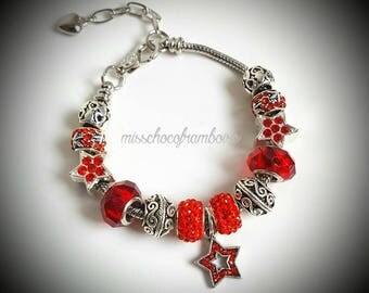 Red pandora style bracelet