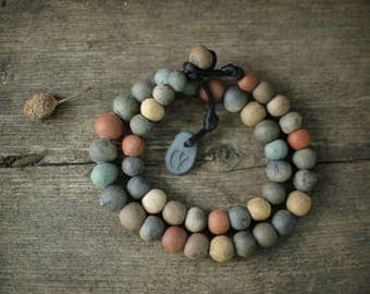 Ceramic necklace with hand modeled beads