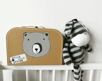 Suitcase with Grey Bear
