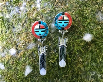 Zuni Sun Face and Feather Earrings