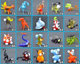 Glass animals miniature figurines glass animals tiny little murano glass dollhouse collectible smallglass animals sculptures in glass 1 inch