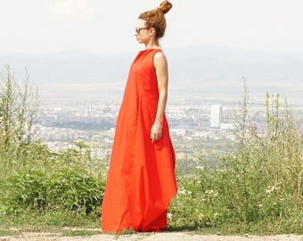 Long Maxi Red Dress, Oversized Abaya Dress, Caftan Dress, Extravagant Boho Dress with Pockets, Elegant Tent Dressy Dress, Summer Gown Dress
