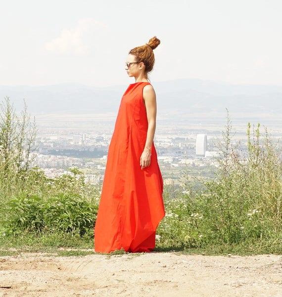 Long Maxi Red Dress, Oversized Abaya Dress, Caftan Dress, Extravagant Boho Dress with Pockets, Elegant Tent Dressy Dress, Summer Gown Dress