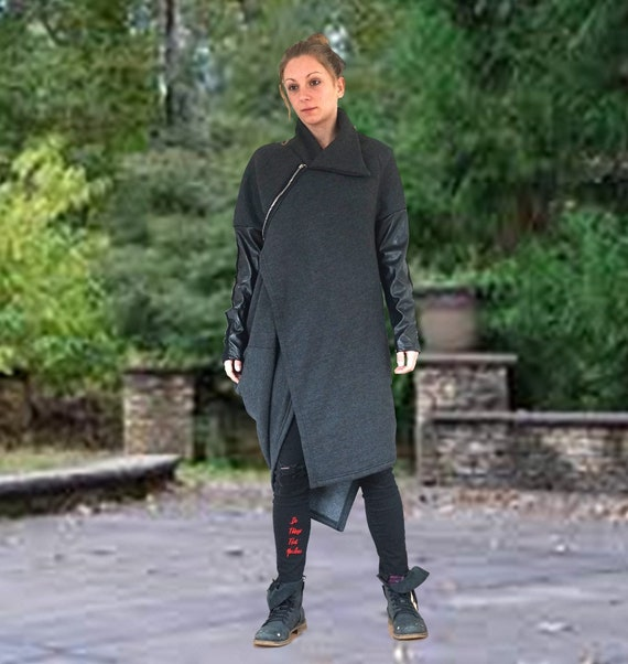 Asymmetric Oversized Sweatshirt, Maxi Sweatshirt, Deconstructed Sweater, Spring Cocoon Sweatshirt, Extravagant Sweatshirt,Black Top Tunic