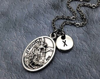 Silver Plated Saint Michael Necklace / St Michael Necklace / Archangel Michael Necklace / Patron Saint Police Officers, Military Personnel