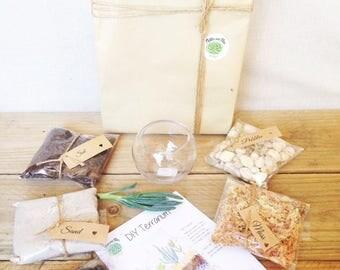 DIY Terrarium Kit, Succulent Small Glass Bowl Terrarium, Miniature Garden, Living Succulent, Green Thumb Gift, Indoor Green Gift.