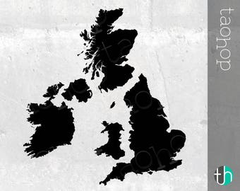 UK and Ireland SVG, PNG, Bundle - England, Scotland, Wales, Ireland - United Kingdom Silhouette, High Detail and Smoothed Versions.