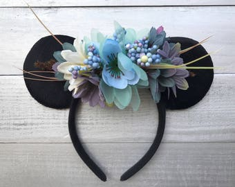 Boho Mickey Ears | Minnie Headband | Country Disney Ears | Shabby Chic Headband | Disney Ears | Mickey Inspired Ears | Blue Story | Handmade