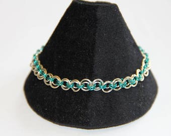 Silver and Turquoise Concentric Circle Chain Maille Bracelet