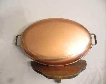 Copper Au Gratin Pan, brass handles, vintage