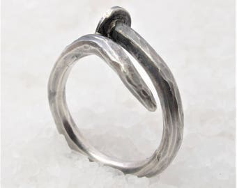 Men nail silver ring, oxidized silver nail.