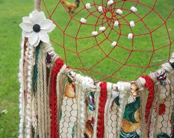 The Big Rudy Dreamcatcher with Rooster Accents and Feathers