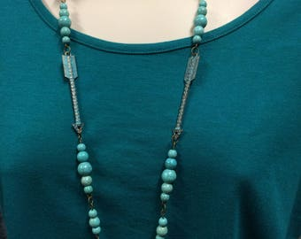 Turquoise Bead Necklace, Vintage Arrow Necklace, Long Statement Necklace