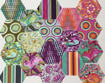 Pre-Cut Hexagons featuring Chipper by Tula Pink