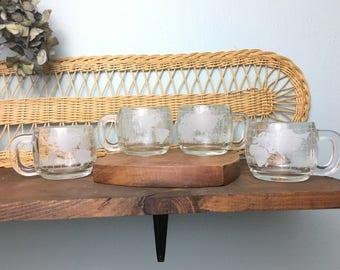 Set of 4 World Globe Nestle Glass Mugs/ Thick Etched Frosted Glass Mugs