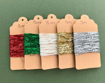 Metallic String - Tinsel String - Gold - Silver - Red - Green - White -  Christmas Gift Wrapping - Sparkly Christmas Trim - 1m/3m/5m