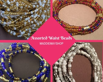 Screw on African Waist Bead, Belly Beads, Seed Beads, Ghana Waist Bead, Glass Beads, Africa Belly Chain with Clasp, African waist beads