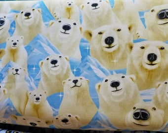 POLAR BEAR Arctic Portraits by Timeless Treasures Collection Cotton Fabric quilt craft winter fabric selfie SALE last yard