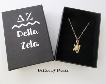 GOLD Delta Zeta Choker, Delta Zeta Necklace ~ Delta Zeta Jewelry Sorority Sister Gift Big Sister Little Sister ~ GOLD TURTLE Necklace