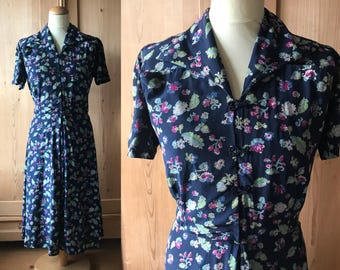 Silk floral 1930s, early 40s dress