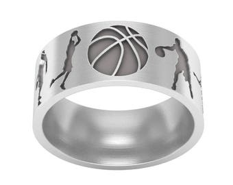 Basketball Band Ring in Sterling Silver Metal, Basketball Ring, Basketball Jewelry, Sports Band Ring, Silver Wedding Ring, Wedding Band Ring