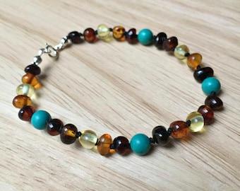 Turquoise Bracelet - Baltic amber bracelet with turquoise howlite, carpal tunnel bracelet, gift for mom, adult amber bracelet, gift for her
