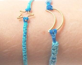 Star charm bracelet, braided bracelet, macrame bracelet, friendship star bracelet, thin star bracelet, thin thread bracelet